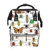 Mochila escolar de gran capacidad, diseño de mariposa, mariquita, abeja y arpas de fuego, para mujer, adulto, adolescente y niños