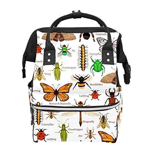 Naturinsekten Schmetterling Marienkäfer Biene Firebug Ameise Spinne Schulrucksack große Kapazität Mumien-Taschen Laptop Handtasche Casual Reise-Rucksack für Damen Herren Erwachsene Teenager Kinder