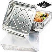 25 Bandejas de Aluminio Desechables con Tapas, (M) 24 x 24 cm - Perfecto para Hornear, Asar y Cocinar - Calidad Superior, Seguro de Usar en Horno e Impermeable.