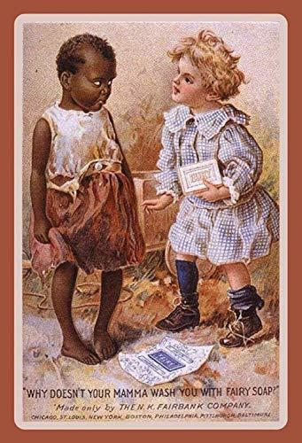 Fairy Soap Vintage reclame zeep kinderen kids metalen bord bordje gewelfd metaal tin teken 20 x 30 cm