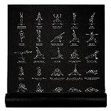 """NewMe Fitness Exercise Yoga Mat - Yoga Mat for Women - 24"""" Wide x 68"""" Long - Beginner Yoga Mat, Thin, Non-Slip Instructional Yoga Mat for Men & Women w/ 70 Printed Poses for Beginner - Black"""