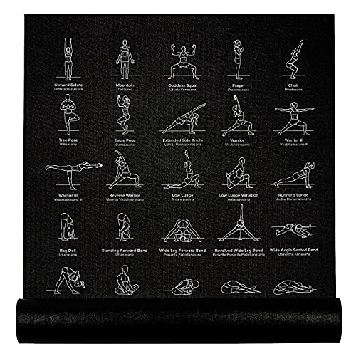 """NewMe Fitness Yoga Mat for Women and Men - 24"""" Wide x 68' Long - Non-Slip Instructional Yoga Mats - Yoga Workout Mat for Home and Gym - 5 mm Thick Exercise Mat with 70 Printed Yoga Poses, Black"""