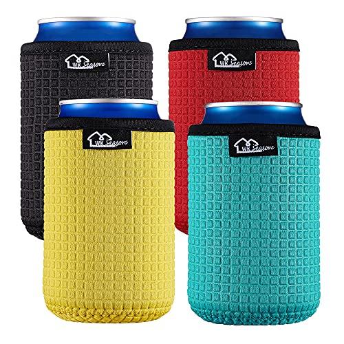 WKieason 12oz Standard Can Sleeves Insulators Sleeves Standard Can Covers 12OZ Beer Bottle Sleeves Coolers Holder Non-slip Neoprene Can Coolier Sleeves 4PC Pack (Black/Red/Yelllow/Blue)