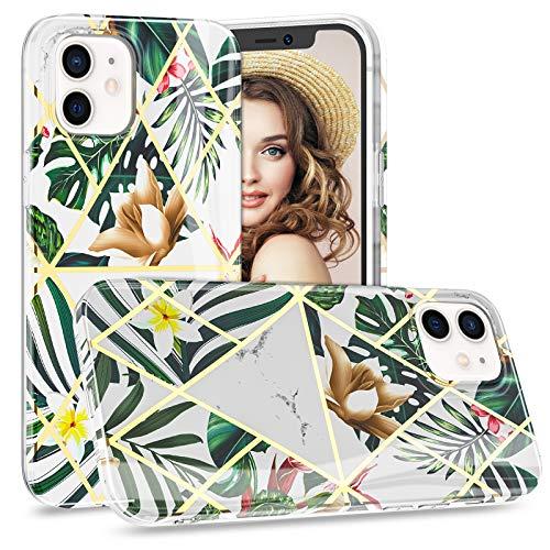 Compatible Con iphone 12 5G Funda Silicona Transparente Slim Thin Carcasa de Suave TPU Claro Case Para iphone 12 Pro 5G Protector Mármol Suave y Flexible Case Cover Para iphone 12 Handy 6.1' 2021