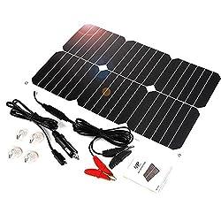 ALLPOWER Solar Panel Battery Maintainer 18V 12V 18Watt Solar Cell Car Boat Power Panel Charger Maintenance for Car Motorcycle Tractor Boat Batteries 12V Batteries