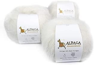 Superfine Suri Alpaca Yarn Wool Set of 3 Skeins Sport Weight (Ivory)