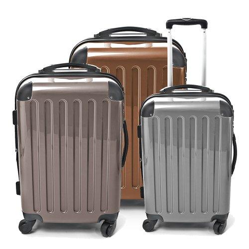 HAUPTSTADTKOFFER - Alex - 3er Koffer-Set Hartschale glänzend, (S, M & L), 235 Liter, Silber-Titan-Braun