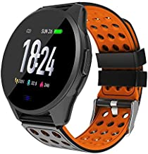 Hoteon 1.3 inch Color Screen Fitness Watch, IP67 Waterproof Smart Activity Tracker with Heart Rate Monitor,BP,Pedometer,Calorie Counter,Sleep Monitor, SMS/SNS Alert (Orange)