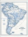 Poster 30 x 40 cm: Südamerika in Blautönen (englisch) von