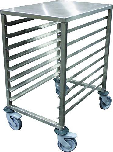 SchbGN1/1-10 ladder, laag, roestvrij staal, gelast, GN1/1, 10 ingang, met remmen, 569 x 389 x 995 mm