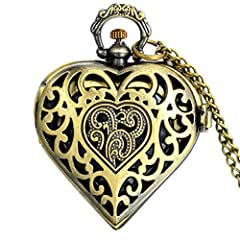 【Delicate Design】vintage bronze tone with love heart shaped,hollow flower pattern cover,nice weight and comfort fit.A lovely gift for women girls. 【A Working Pocket Watch】this heart pocket watch with chain use the quality precise quartz movement,batt...