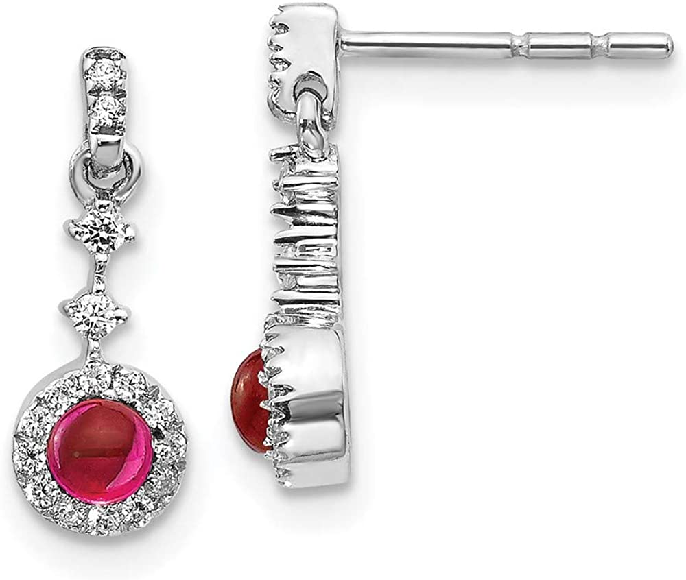 14k White Gold Diamond Cabochon Red Ruby Post Stud Earrings Drop Dangle Gemstone Fine Jewelry For Women Gifts For Her