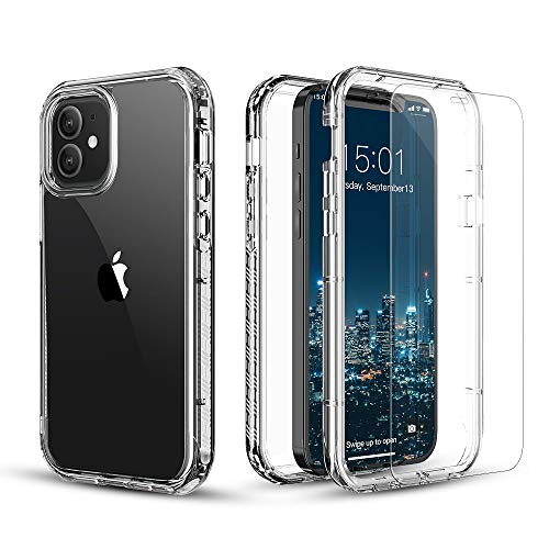 FLOVEME iPhone Case and Screen Protector Glass (2 Pack) for iPhone Cases Full Body Protection Sturdy Armor Heavy Duty Bumper Cover for Men Women