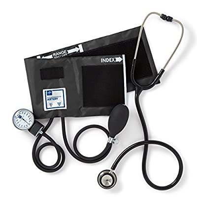 Medline Compli-Mates Aneroid Sphygmomanometer and Dual Head Stethoscope Kit, Carrying Case, Adult Blood Pressure Cuff, Manual, Professional (Available in multiple colors)