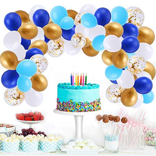 Herefun 119 Pezzi Kit Ghirlanda Palloncini, Decorazioni per Feste di Compleanno, Blu Bianco e Oro Confetti Palloncini per Anniversario Laurea Baby Shower Decorazioni