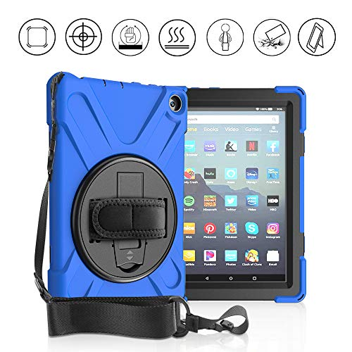 GZERMA Case for Amazon Fire HD 8/8 Plus (10th Generation - 2020 Release), Full Protection with Shoulder Strap, Hand Strap and 360 Degree Rotatble Stand, Heavy Duty Kindle Fire HD 8 2020 Tablet Case