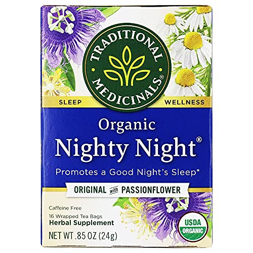 Traditional Medicinals Organic Nighty Night Relaxation Tea (Pack of 1), Promotes a Good Night's Sleep, 16 Tea Bags