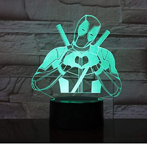 Preisvergleich Produktbild Nette Wunder-Superheld-Liebe Deadpool 3D Führte Nachtlicht Usb-Schreibtisch-Lampen-Ausgangsdekor...