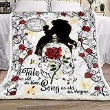 NicePodLLC Customized Blanket Beauty and The Beast Tale as Old as Time Blanket Nona gaga Mammy nini Pepe Granddad Woman Halloween