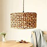 Geometric Rattan Chandelier Light, Retro Solid Wood Decorative Farmhouse Dining Room Light ,Simple Modern Country Kitchen Living Room Bedroom Small Island Lights , Flush Mount Ceiling Light, With Wire