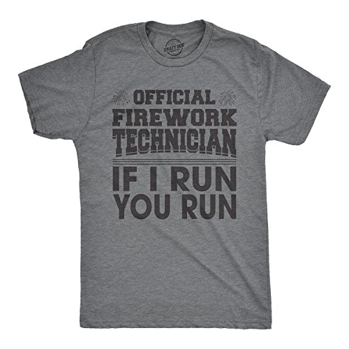 Mens Official Firework Technician Tshirt Funny Fourth of July Tee for Guys (Dark Heather Grey) - L
