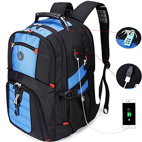 SHRRADOO Extra Large Durable 50L Travel Laptop Backpack School Backpack Travel Backpack College Bookbag with USB Charging Port fit 17 Inch Laptops for Men Women Including Lock Blue