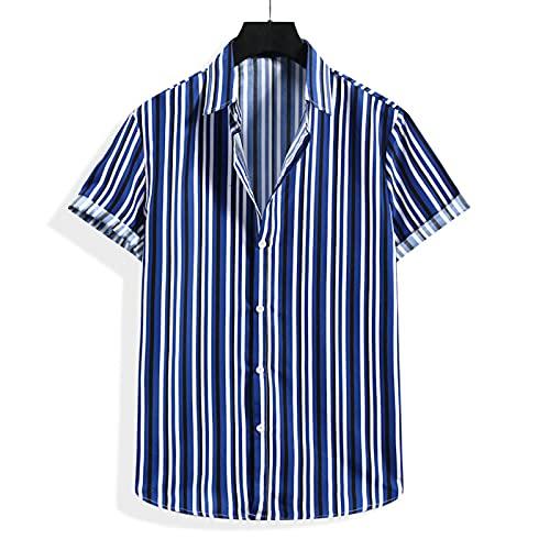 SSBZYES Camicie Da Uomo a Maniche Corte Camicie a Righe Da Uomo Estive Camicie a Righe Da Uomo a Maniche Corte Camicie Floreali Da Uomo Camicie Da Spiaggia Casual
