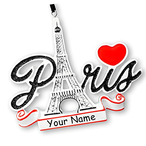 Polar X Personalized Paris France Christmas Ornament - Sightseeing and Tourist Travel Souvenir Monument Tower Hanging Tree Ornament with Custom Name and Date