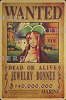 海賊アニメJEWELRY BONNEYジュエリーボニー さびた錫のサインヴィンテージアルミニウムプラークアートポスター装飾面白い鉄の絵の個性安全標識警告バースクールカフェガレージの寝室に適しています