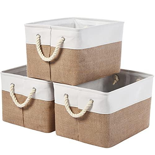 WEHUSE Large Fabric Storage Bins for Closet Shelves, 15.8 L x 12 W x 10 H Decorative Foldable Shelf Storage Baskets with Rope Handles, Jute Cloth