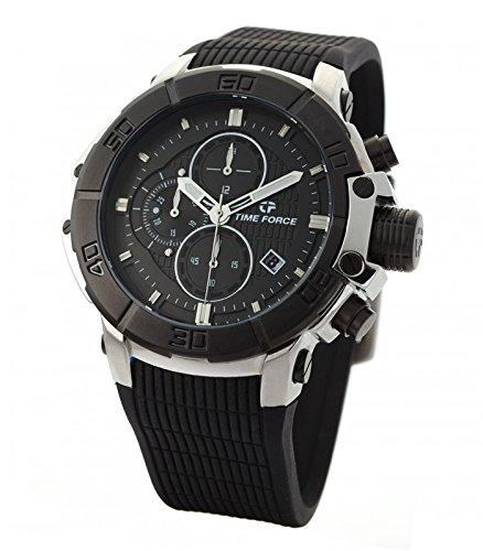 TIME FORCE Reloj Cronógrafo para Hombre de Cuarzo con Correa en Caucho TFA5008MAA01S01