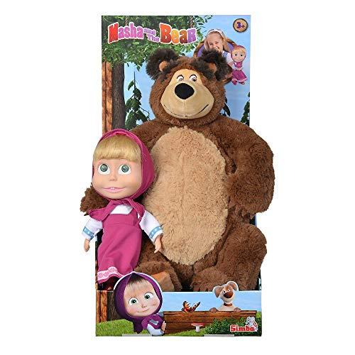 Simba 109301016 Mascha und der Bär Set Plüschbär Puppe groß Plüschtier