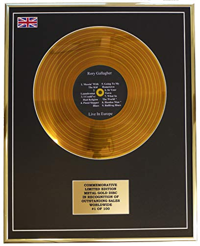Everythingcollectible Rory Gallagher - LIVE IN Europe/Metall Gold Disc Display Gedenk Limited Edition