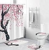 Duschvorhang, Pflaumenblüte, 3D-HD-gedruckter Stoff, Duschvorhang, Badezimmer-Vorhang-Set, rutschfeste Teppiche, WC-Deckelbezug & Badvorleger (A,4-teiliges Set)