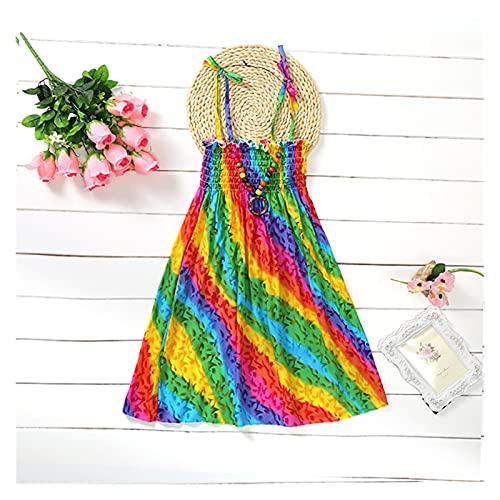 Vestidos de niña Verano Niñas Vestido Floral Sling Volantes Bohemio Playa Princesa Vestidos para Niña Ropa Cómodo y agradable al tacto (Color: G, Tamaño de Niño: 7T)