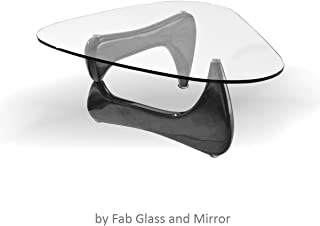 Fab Glass and Mirror Noguchi Style Coffee Table with Clear Glass Top, Black