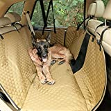 Petsfit Dog Car Seat Cover for Back Seat Protector, Scratchproof Nonslip Hammock Washable Pets Seat Covers with Mesh Window Against Dirt and Pet Fur for Cars Trucks, Khaki