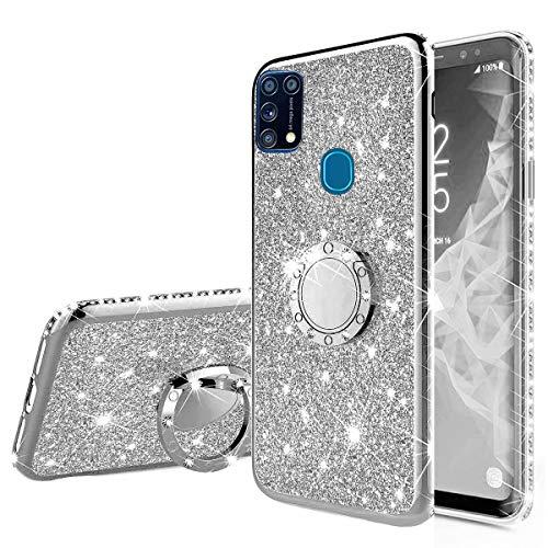 Nadoli Glitzer Hülle für Galaxy M31,Kristall Diamant Strass Bumper mit 360 Ring Kickstand Silikon Schutzhülle Handyhülle Frauen Mädchen für Samsung Galaxy M31,Silber