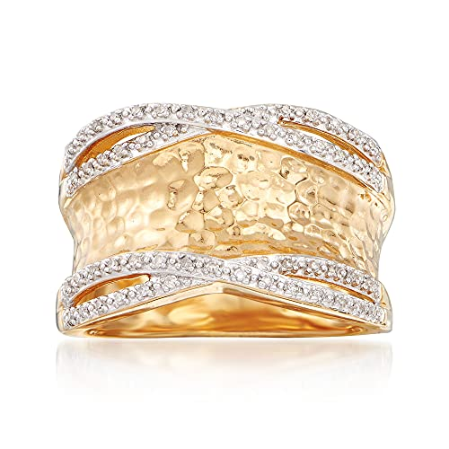 Ross-Simons 0.13 ct. t.w. Diamond Hammered Ring in 18kt Gold Over Sterling. Size 8