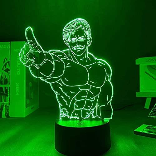 JYDNBGLS Anime lâmpada de LED noturna com controle remoto de 16 cores, melhor presente de aniversário, Natal, anime, luzes 3D, anime, sete pecados mortais, Escanor, iluminação noturna de LED