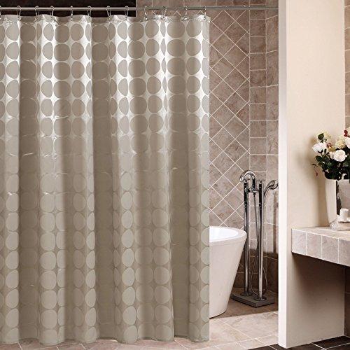 Ommda Duschvorhang Textil Polyester Wasserdicht Duschvorhang Anti-schimmel Digitaldruck Kreise Waschbar mit 12 Duschvorhang Ring Kunststoff 180x180cm Champagner