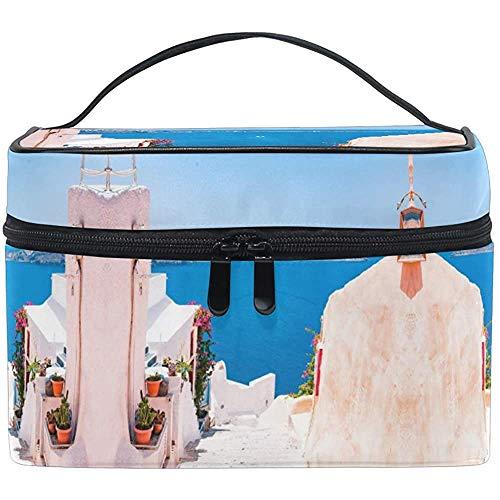 Trousse de Maquillage Santorini Grèce Voyage Cosmétique Sacs Organisateur Train Case Trousse de Toilette Make Up Pouch