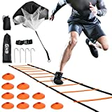 GHB Agility Ladder Speed Ladder 6M 12-Rung with Resistance Parachute 10 Cones 4 Stakes for Kids Adults Football Speed Training