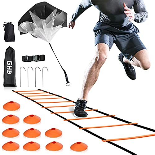 GHB Speed Ladder Training Ladder Agility Ladder with 10 Cones 12 Rung 20ft with Resistance Parachute