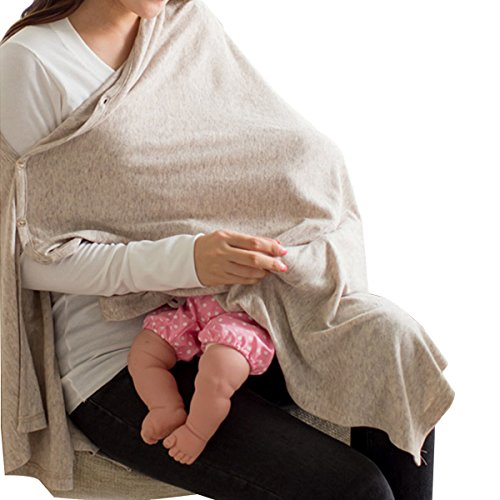 Nursing Cover Soft Breathable Cotton 360° Full Coverage Privacy Button Type Infinity...