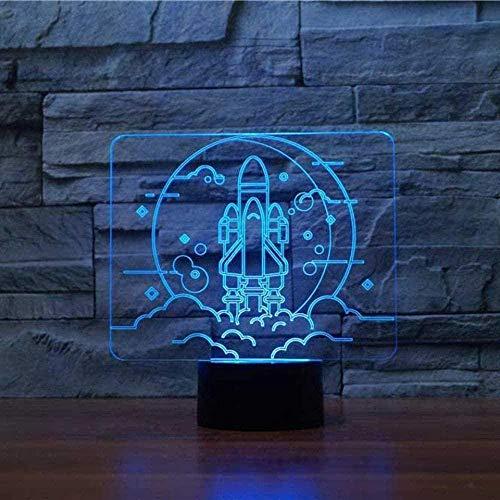 tian tian baby 3D Nacht Nachtlicht 7 Farben Wechsel Fernbedienung LED Toy Rocket Modellierung 3D Nachtlicht 7 Farben Wechsel LED Schlafzimmer Geschenke Lampara Nachttischlampe