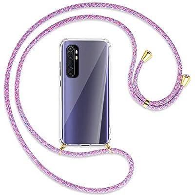 mtb more energy® Collar Smartphone para Xiaomi Mi Note 10 Lite (6.47'') - Unicornio Morado/Oro - Funda Protectora ponible - Carcasa Anti Shock con Correa para Hombro