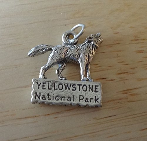 Charm - Sterling Silver - Jewelry - Pendant - Wolf Standing Sign Yellowstone National Park