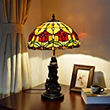 JiTian Table lamp YWXLight European Retro Tulip Lighting Table Lamp Stained Glass Lampshade Bar Living Room Dining Room Bedroom Bedside Counter Lamp
