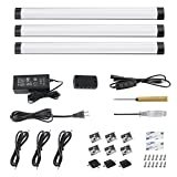 LED Under Cabinet Lighting Dimmable, LED Under Counter Lights, LED Kitchen Light, 11.8' LED Light Bar, LED Under Shelf Lighting, Cool White 6000K, 3 Panel Kit Black